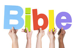 Group of Multiethnic Hands Holding Bible