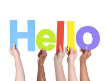 Group of Multiethnic Hands Holding Hello Stock Image