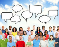Group of Multiethnic People with Blank Speech Bubble Royalty Free Stock Photography