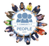 Group of Multiethnic People in a Circle Holding Hands Royalty Free Stock Images