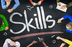 Group of Multiethnic People Discussing About Skills.  Stock Image