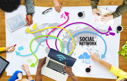Group of Multiethnic People Discussing Social Network Stock Photo