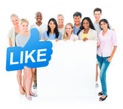 Group of Multiethnic People Holding Blank Placard with Like Symbol Royalty Free Stock Photos