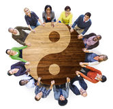 Group of Multiethnic People in Yin and Yang Royalty Free Stock Photography