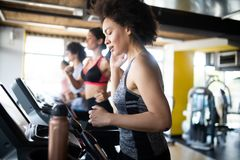 Group of multiethnic sports people make sport exercise in gym. Group of multiethnic sports strong people make sport exercise in gym stock images