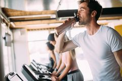 Group of multiethnic sports people make sport exercise in gym. Group of multiethnic sports strong people make sport exercise in gym stock image