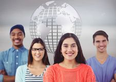Group of multinational people in front of world globe Stock Photography
