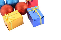 Group multiple color gift box and christmas ball Stock Images