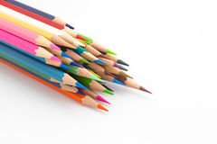 Group of multiple colours wooden pencil on white Royalty Free Stock Images