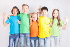 Group of multiracial funny children Stock Photo