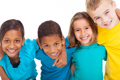 Group multiracial kids. Group of multiracial kids portrait in studio on white background stock photography
