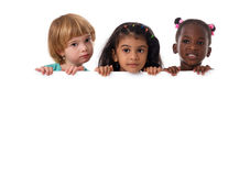 Group of multiracial kids portrait with white board.Isolated Royalty Free Stock Image
