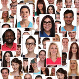 Group of multiracial young smiling happy people faces portrait b Stock Image