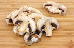 Group Mushrooms on Cutting Board Close Stock Photos