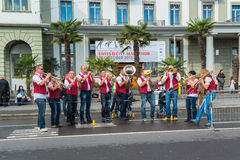 Group of musicians lined the streets of Lucerne and play traditional song Royalty Free Stock Photography