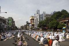 A group of Muslim man at the Eid prayer at Kolkata Stock Photos