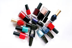 Group of nail polish on white background Stock Image