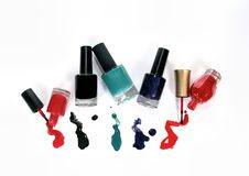 Group of nail polish on white background Royalty Free Stock Photo