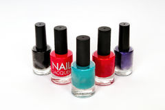 Group of nail polish on white background Royalty Free Stock Photos