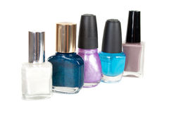 Group of nail polishes isolated on white Royalty Free Stock Photos