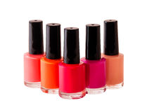 Group of nail polishes isolated on white. Background Royalty Free Stock Photo