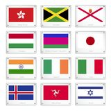 Group of National Flags on Metal Texture Plates Stock Photos
