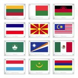 Group of National Flags on Metal Texture Plates Stock Image