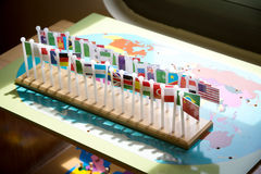 Group of national world flag on wood world board ,for child lear Stock Images