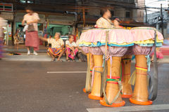 Group of native Thai musical instrument standing on the road Royalty Free Stock Images