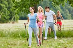 Group in the nature nordic walking Royalty Free Stock Photos