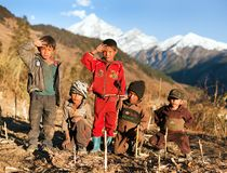 Group of nepalese children in western Nepal Royalty Free Stock Photos