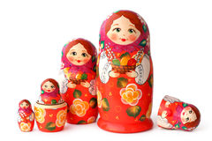 Group of Nesting Dolls on White Stock Photos