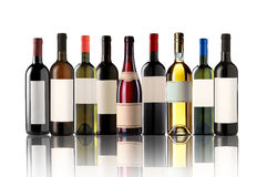 Group of nine bottles Royalty Free Stock Photography