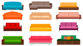 Group of nine bright sofas of different kind. Living room interior design furniture set. Stock Photos