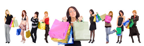 Group of nine shopping girls gorgeous one at front Stock Image