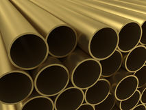 The group of non-ferrous alloy tubing. 3d rendering Stock Photo