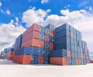 Group of numerous shipping containers in port Stock Photo