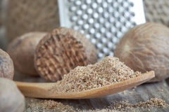 Group of nutmeg seeds. With nutmeg powder in wooden spoon royalty free stock photo