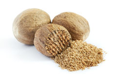 Group of nutmeg seeds Stock Photos