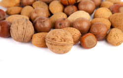 Group of nuts with a big walnut in the middle Royalty Free Stock Images