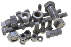 Group of nuts and bolts Royalty Free Stock Photography