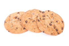 Group of oatmeal cookies with chocolate chip stock photo