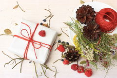 Group of objects decorated in a simple rustic style. Dry herbal grass, some ripe raspberry and red ball of jute on white wooden background. Copy space stock photo