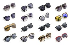 Free Group Of Beautiful Sunglasses Isolated On White Background. Stock Photography - 105772752