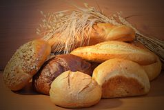 Group Of Bread And Wheat Spikes Stock Image