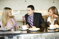Group Of Business People At Coffee Break Royalty Free Stock Photos