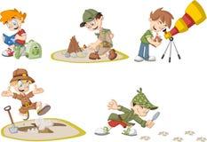 Free Group Of Cartoon Explorer Boys Stock Photos - 54085053