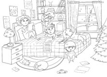 Free Group Of Children Writing A Letter To Santa. Interior Of A Children`s Room With Christmas Tree And Decorations. Funny Cartoon Char Stock Image - 168858291