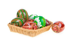 Group Of Colored Easter Eggs In Basket Isolated Royalty Free Stock Photos