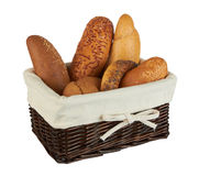 Group Of Different Bread Products In Basket Royalty Free Stock Photography